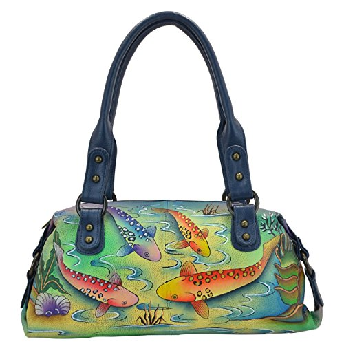 Anna by Anuschka Genuine Leather Top Zip Satchel | Hand-Painted Original Artwork | Koi Fish ()