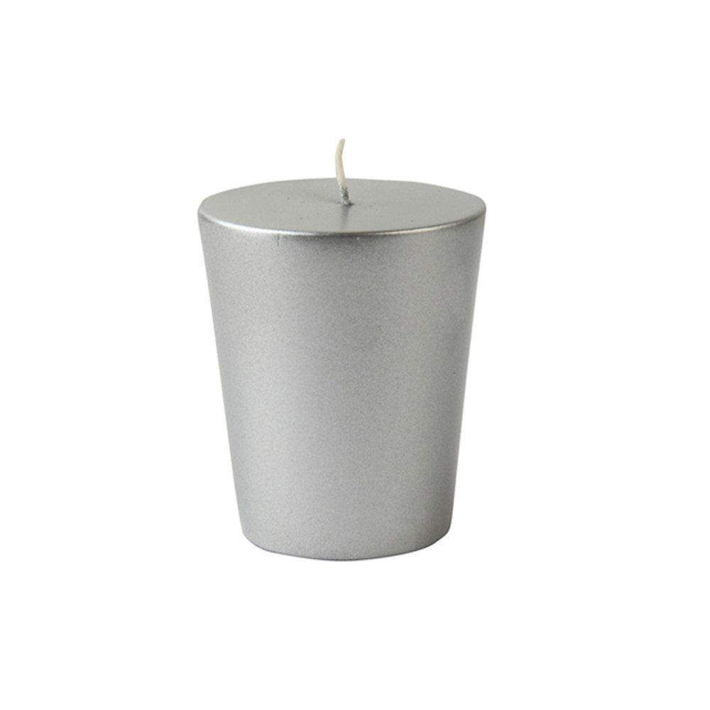 Zest Candle CVM-002_8 96-Piece Votive Candle, White/Metallic Silver