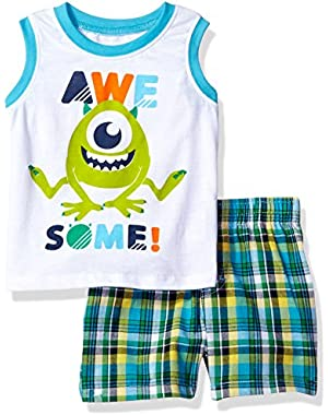 Disney Baby Boys' 2 Piece Monsters Inc. Plaid Short Set