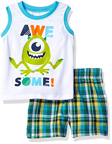 Disney Baby Boys' 2 Piece Monsters Inc. Plaid Short Set, White, 12m (Baby Monsters Inc)