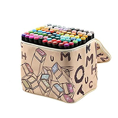 ioiomarker 80 Vibrant Colors Dual Tip Markers Alcohol-Based Permanent Marker Pen Set, Art Profession Drawing Coloring Pens, with Leather Gift Bag for Kids/Adults/Designer