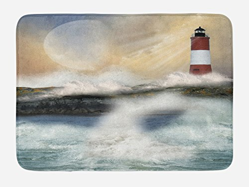 Lighthouses Bath (Ambesonne Lighthouse Bath Mat, Oil Painting Style Artwork of Stormy Sea Splashing Waves Moon and Lighthouse, Plush Bathroom Decor Mat with Non Slip Backing, 29.5 W X 17.5 W Inches, Multicolor)