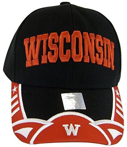 Wisconsin Men's Stars & Stripes Adjustable Baseball Cap (Black/Red) ()