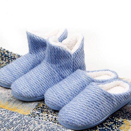Indoor soleggiati Antisdrucciolevoli Cotone per Aiutare Blu Pantofole casa Donne e Outdoor Pattini Spessa Le Invernale Alta di vZ6ZqR