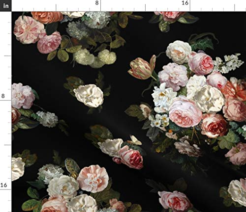 Dutch Floral Fabric - Floral Flowers Botanical Girly Garden Dutch Still Floral Floral Oil Painting Blossoms Flowers by Willowlanetextiles Printed on Satin Fabric by The - Satin Tessa