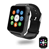 Evershop Bluetooth Smart Watch with Dual Card Slot and HD Camera Smart Watches with Heart Rate Monitor Touch Screen Bluetooth Sports Wrist Watch Phone for Android and IOS (GT88 Black)
