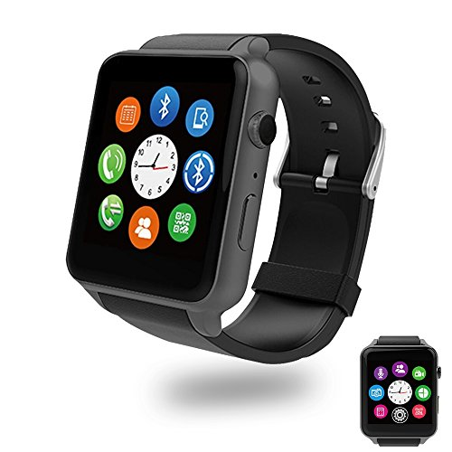 Evershop Bluetooth Smart Watch with Dual Card Slot and HD Camera Smart Watches with Heart Rate Monitor Touch Screen Bluetooth Sports Wrist Watch Phone for Android and IOS (GT88 Black) by Evershop