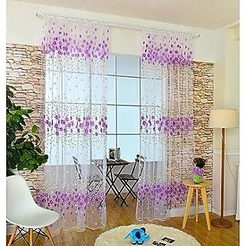 Aemember Rod Tasche Ein Flächenvorhang, Blume Kinder Zimmer Poly/Baumwolle  Mischung Material Gardinen Jalousien