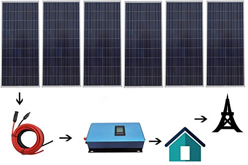 ECO LLC 900W Home Gird Tie Solar System Kit Include 6X 150W Solar Panel and 1000W Inverter AC 110V