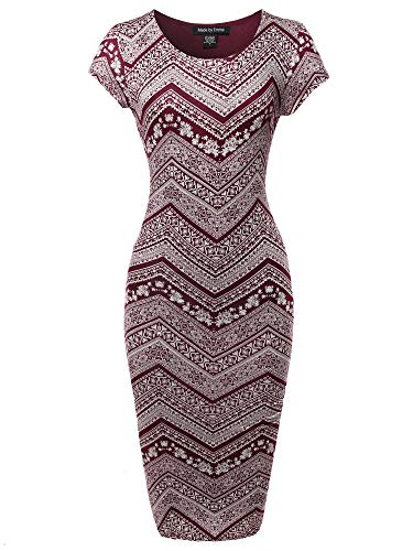 Made by Emma Casual Aztec Printed Fully Lined Stretchable Body-Con Midi Dress Raisin M ()