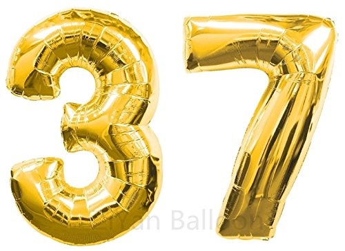 ZiYan 40 Inch Giant 37th Gold Number Balloons,Birthday/Party - 37th Air
