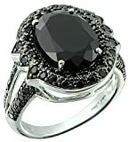 9.59 Carats Big and Bold Oval 14x10mm Black Onyx Silver Statement Ring (7)