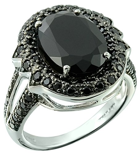 9.59 Carats Big and Bold Oval 14x10mm Black Onyx Silver Statement Ring (7) by RB Gems