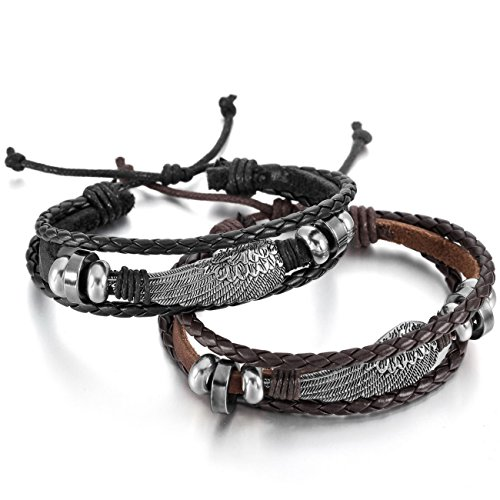 Leather Angel Wings - MOWOM 2PCS Alloy Genuine Leather Bracelet Bangle Cuff Angel Wing Feather Surfer Wrap Adjustable