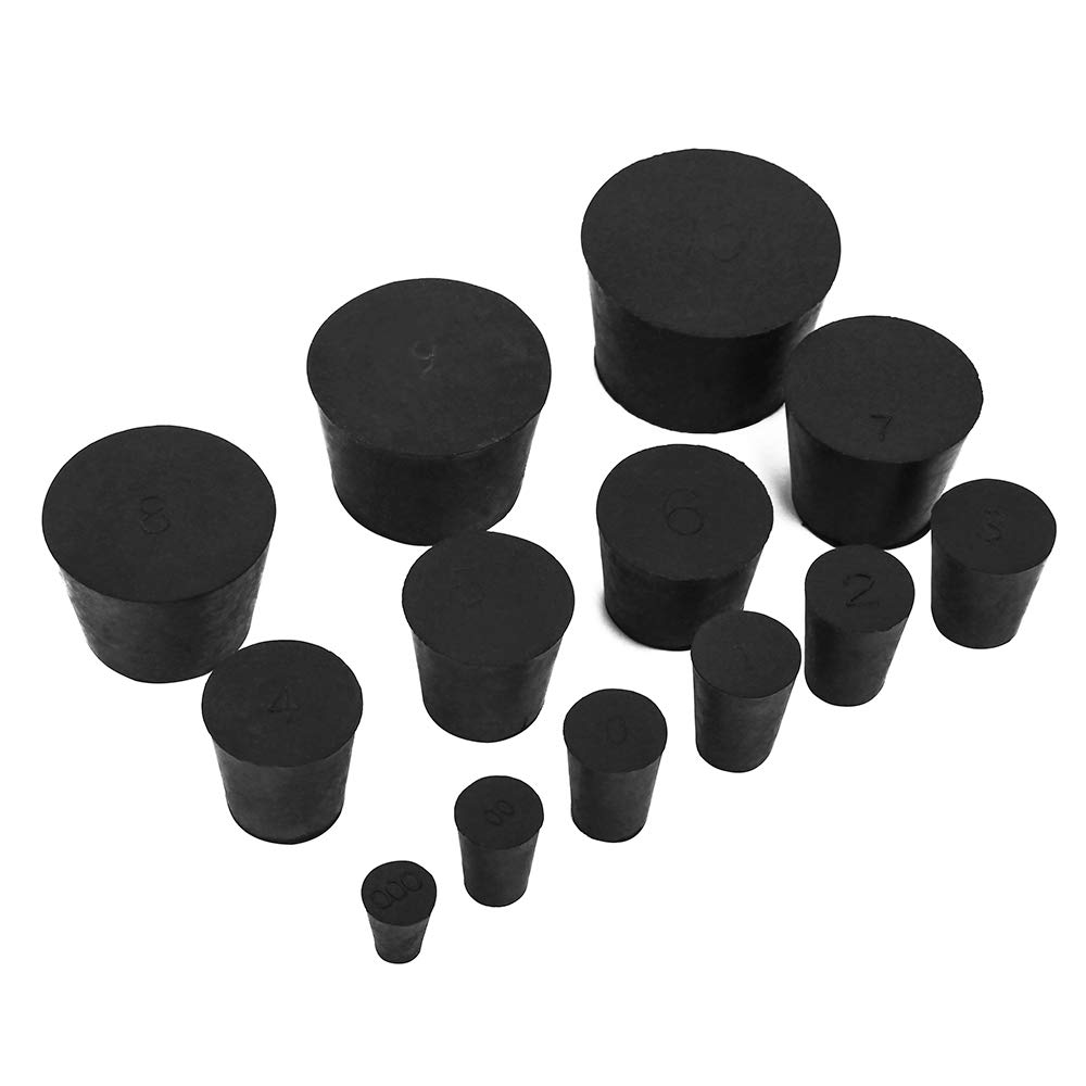 22 Pack (13 Assorted Sizes) 000# -10# Solid Rubber Stoppers by Enjoyist