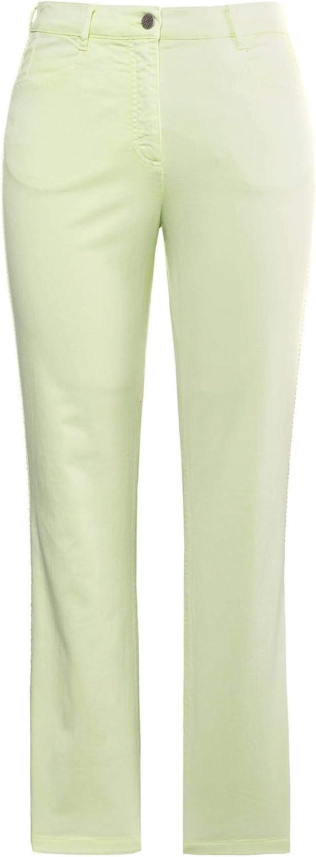 Ulla Popken Women's Große Größen Hose Mona Mit Seitlichem Zierband Trouser Lime