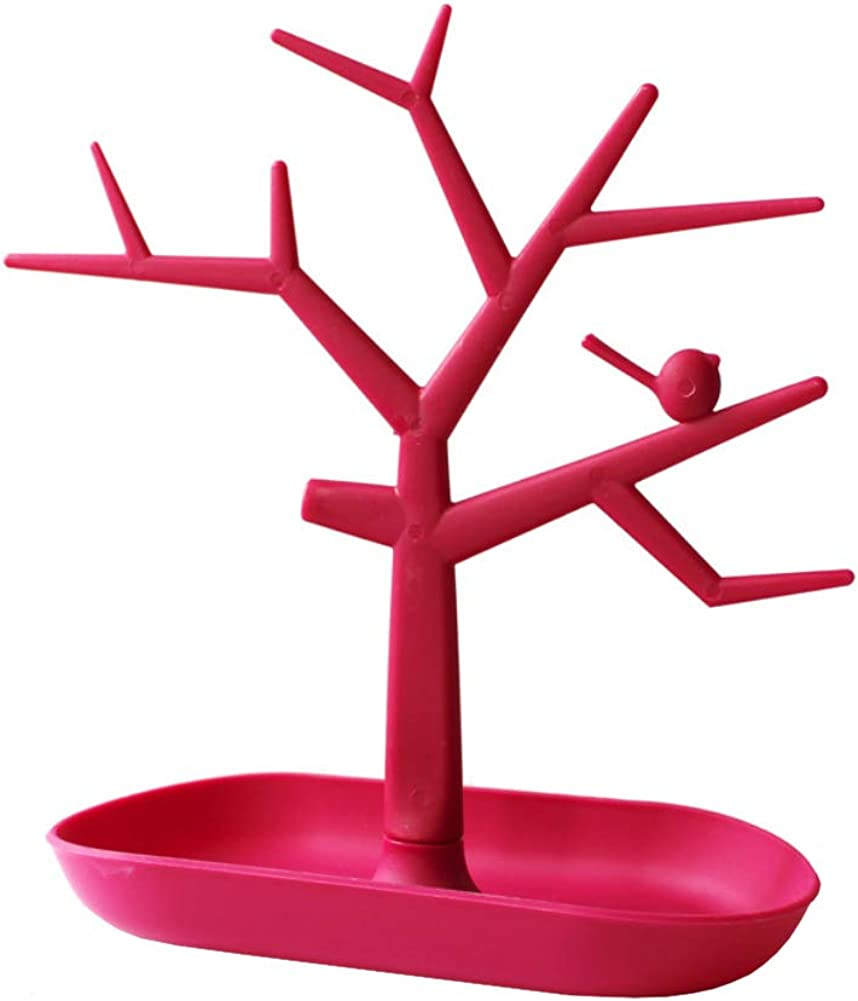 Multi Function Bijoux Pr/ésentoir Creative Oiseaux Arbre Bijoux Stand Shaped Voir Rack Creative Boucles doreilles Collier Bague Rose Rouge Porte Support