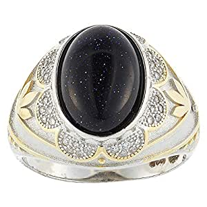 Aurora Men's Silver Aqeeq Black Ring