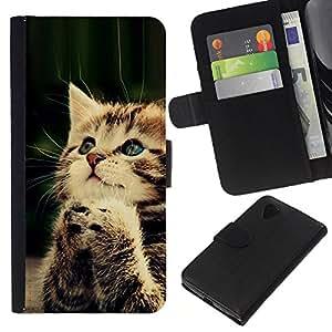 KLONGSHOP // Tirón de la caja Cartera de cuero con ranuras para tarjetas - Orar Gatito lindo del bebé de la pata peluda - LG Nexus 5 D820 D821 //