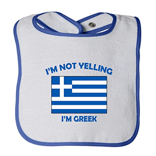 (Cute Rascals I'M Not Yelling I Am Greek Greece Tot Contrast Trim Terry Bib White/Royal Blue)