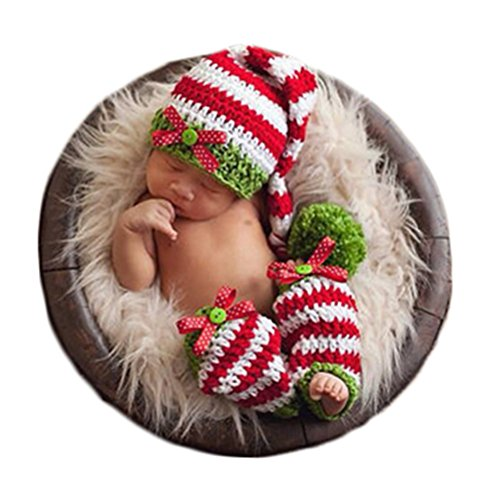 Baby Photography Props Photo Shoot Outfits Newborn Costume Infant Christmas Clothes Hat Leggings (Green) -