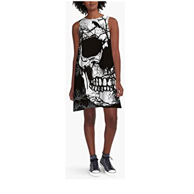 31d4dac6eda FRTCV Women s Skull Print Loose Summer Sleeveless Mini Tank Dress Casual  T-Shirt Dresses Black