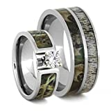 Charles & Colvard Moissanite, Camo Engagement Ring and Deer Antler, Camo Print Titanium Band, His and Her Wedding Band Set, M11-F7.5