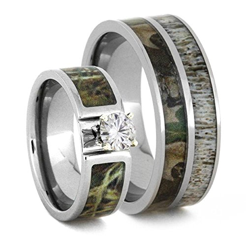 Charles & Colvard Moissanite, Camo Engagement Ring and Deer Antler, Camo Print Titanium Band, His and Her Wedding Band Set, M11-F7.5 by The Men's Jewelry Store (Unisex Jewelry)
