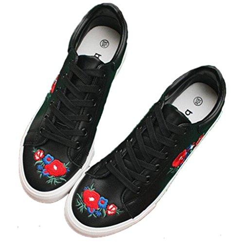 SHFANG Señora Zapatos Punto Agujero Pequeños Zapatos Blancos Grueso Fondo Aumentado Pu Bordado Estudiantes Cómodo Movimiento Diario Black
