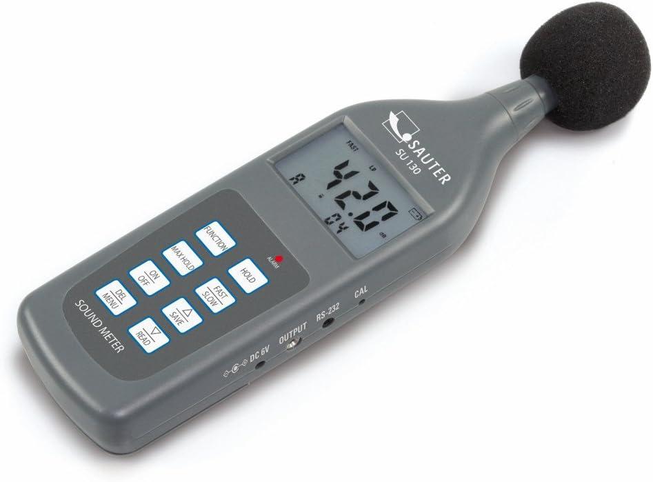 Sonómetro profesional, clase II [Sauter SU 130] para mediciones de ruido en ámbitos como, por ejemplo, el medio ambiente, la mecánica, la industria automovilística y muchos otros