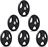 TNP Accessories Rubber Olympic Radial TRI-GRIP Hammertone Disc Weight Plates EZ Bar Curl Barbell...