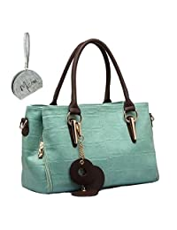 Micom 2017 Fashion Womens Wax Pu Leather 3 Large Compartment Zip Trifold Purse Bag Tote Shoulder Handbags