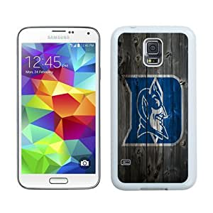 Case For Galaxy S5,Duke Blue Devils Wood White Samsung Galaxy S5 i9600 Case