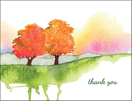 Autumn Memories Premium All Occasion Thank You Cards Note Cards Stationery- 12 Blank Cards and Envelopes Boxed Set- Peaks Publishing Inc