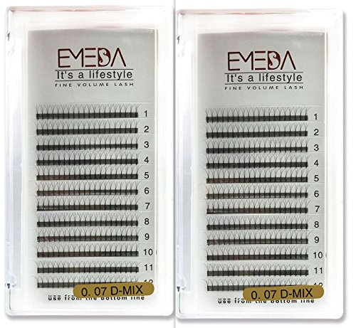2 Packs 3D Premade Volume Eyelash Extensions D Curl Lash Extension .07 Mix Length 12 Rows Individual Cluster False Eyelashes for Women by EMEDA