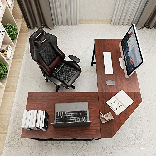 Soges 59 x 59 inches Large L-Shaped Desk Computer Desk L Desk Office Desk Workstation Desk, Walnut CS-ZJ02-WN ()