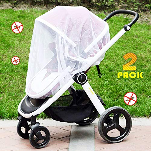 [2 Pack] Baby Mosquito Nets for Strollers, Carriers, Car Seats, Cradles, Fits Most PacknPlays, Cribs, Bassinets & Playpens, Soft Durable Insect Shield Netting, Babies Fly Screen Protection - Bug Stroller