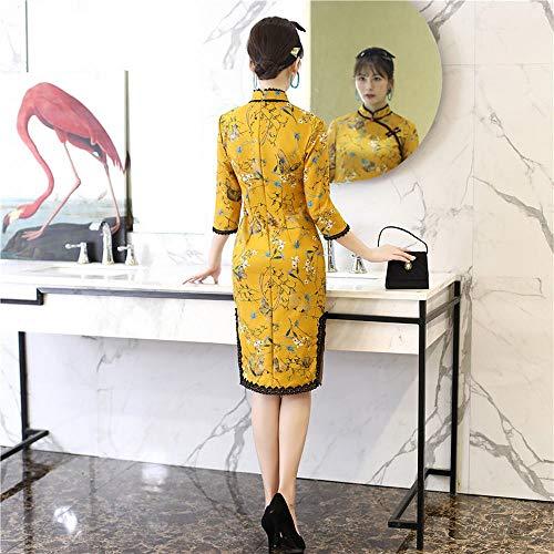 Nalkusxi L In Ragazza Vestito Modificato Cervo Inverno color Yellow Cheongsam Pelle Yellow Pizzo Size Scamosciata E Paragrafo Autunno Breve Dalla UqwFgU