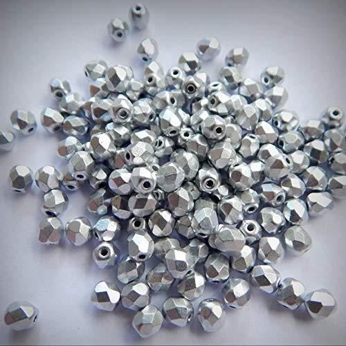 Firepolish 4mm Czech Matte Metallic Aluminum Silver - 100 Beads - Beads DIY for Handmade Bracelet Necklace \ Craft Jewelry Making Supplies