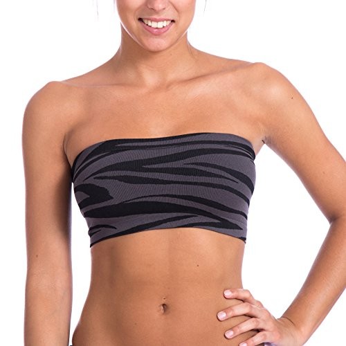 Level 33 Women's Stretch Seamless Tube Top Bandeau (One Size, Black/Grey Zebra)