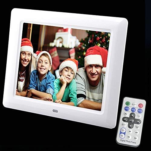 Digital Photo Frame 8 inch LED Photo Frame Album Photo Music Porta Retrato Digital MP3 Video MP4 (White -US Plug)