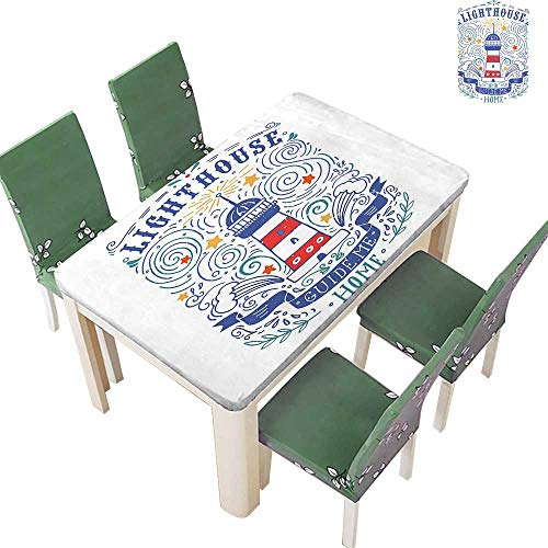 Table in Washable Polyeste Styled Hand Drawn Lighthouse Print ography Wav Branch Lettering Wedding Party Restaurant 50 x 102 Inch (Elastic Edge)