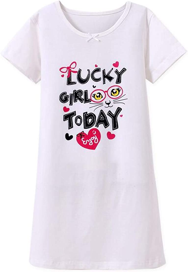 Gaga city Camicia da Notte Estiva Bambina Principessa Vestito da Pigiama Rosa con Stampa Dolce
