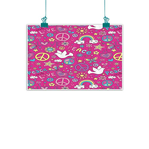 """1960s Decorations Collection Light luxury American oil painting Sunshine Birds Mushroom Acoustic Shooting Star Creative Design Home and everything 28""""Wx20""""L Magenta Pink Yellow Blue White"""