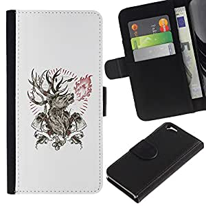 Stuss Case / Funda Carcasa PU de Cuero - Deer Antlers Axe Manly Incendios Forestales - Apple Iphone 6
