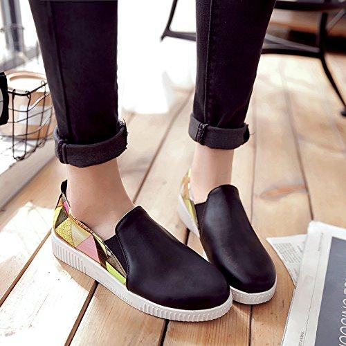 Spectacle Shine Bungees Femmes Diapositive Plate-forme Décontractée Mocassins Chaussures Noir