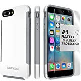 iPhone 8 Plus and 7 Plus Case, SaharaCase Inspire Protective Kit Bundled with [ZeroDamage Tempered Glass Screen Protector] Rugged Slim Fit Shockproof Bumper [Hard PC Back] Protection - White Silver