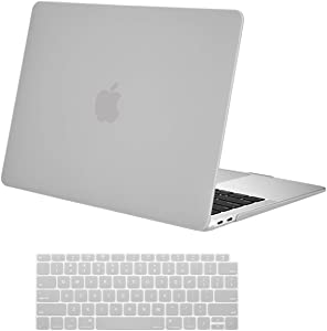 MOSISO MacBook Air 13 inch Case 2020 2019 2018 Release A2179 A1932, Plastic Hard Shell Case & Keyboard Cover Skin Only Compatible with MacBook Air 13 inch with Retina Display, Neutral Gray