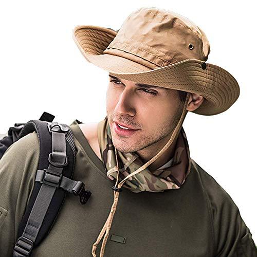 TUSFTAY Men Adjustable Boonie Hat Bucket Mesh Hat Summer UV Protection Sun Cap Fishing Hunting Gardening Beach Moisture Wicking Sun Hats - Golf Hat New Khaki