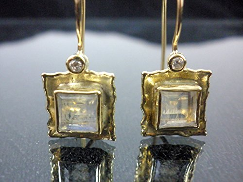 14k 18k solid gold earrings Square dangle earrings Moonstone and diamonds dangle earrings bridal earrings Anniversary earrings Handmade (Moonstone Earrings Diamond)